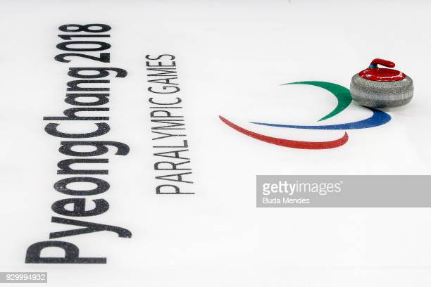 The stone is seen during the Wheelchair Curling Round Robin Session 01 during day one of the PyeongChang 2018 Paralympic Games at Gangneung Curling...