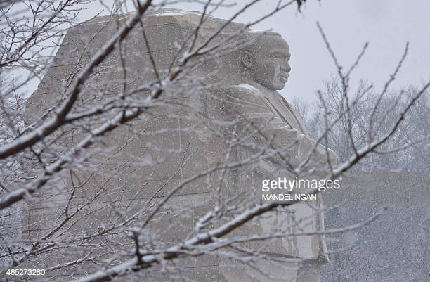 The 'Stone of Hope' is seen at the Martin Luther King Jr Memorial on March 5 2015 in Washington DC AFP PHOTO/MANDEL NGAN