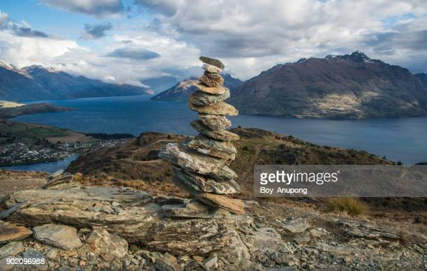 The stone stack on the top of Queenstown hill (907 metres), New Zealand.