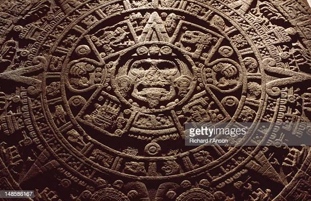 The stone sun 'calendar' of the Aztecs (or Mexica) in the Museo Nacional de Antropologia.