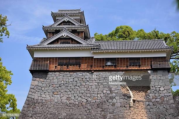 The stone wall of Kumamoto Castle is seen damaged by the earthquake on April 15 2016 in Kumamoto Japan Kumamoto Castle is a major tourism destination...