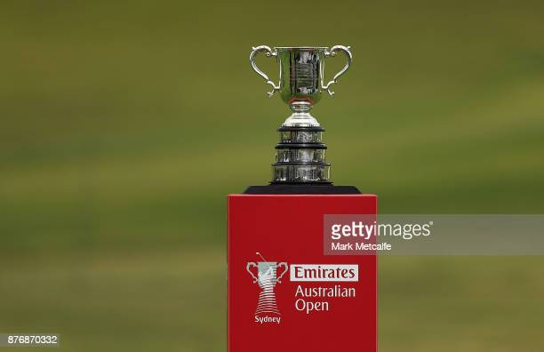 The Stonehaven trophy is seen on the 18th fairway during a practice round ahead of the 2017 Australian Open at The Australian Golf Club on November...