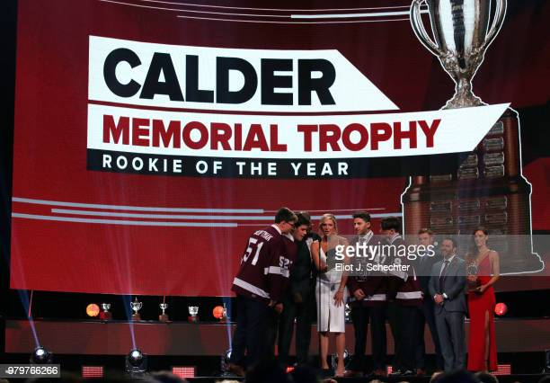 The Stoneman Douglas High School hockey team and NHL Network sportscaster Kathryn Tappen announce the winner of the Calder Memorial Trophy onstage...