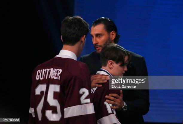 The Stoneman Douglas High School hockey team is welcomed onstage by Roberto Luongo of the Florida Panthers during the 2018 NHL Awards presented by...