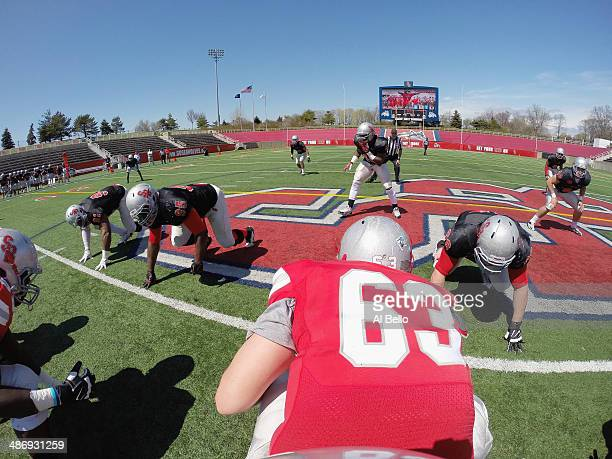 The Stony Brook Offense lines up against the Stony Brook Defense during their Spring Football Game at Kenneth P LaValle Stadium on April 26 2014 in...