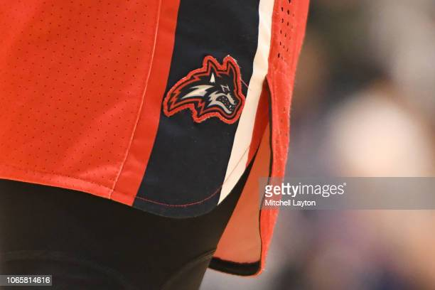 The Stony Brook Seawolves logo on a pair of shorts during a college basketball game against the George Washington Colonials at the Smith Center on...
