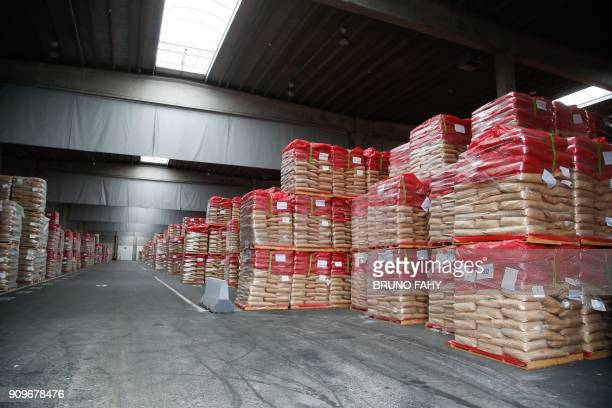 The storage facility for powdered milk run by the European Milk Board in Herstal is pictured on January 24 2018 / AFP PHOTO / BELGA AND Belga / BRUNO...