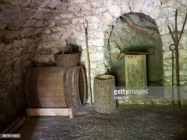 The storehouse of a traditional cottage in Old Orhei Moldova set up to show how people of the area used to live