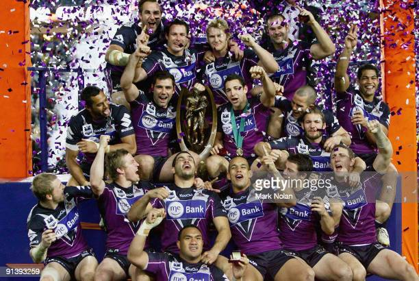 The Storm celebrate after winning the 2009 NRL Grand Final match between the Parramatta Eels and the Melbourne Storm at ANZ Stadium on October 4,...