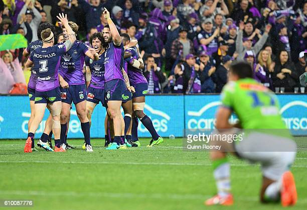 The Storm celebrates kicking a goalebrate winning the NRL Preliminary Final match between the Melbourne Storm and the Canberra Raiders at AAMI Park...