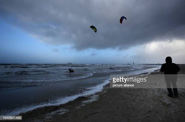 The storm front 'Elon' moves over the seaside resort RostockWarnemuende on the Baltic Sea Germany 09 January 2015 Until Sunday two further storm...