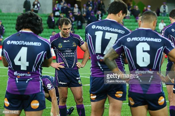 The Storm look dejected after losing the NRL 2nd Elimination Final match between the Melbourne Storm and the Canterbury Bankstown Bulldogs at AAMI...