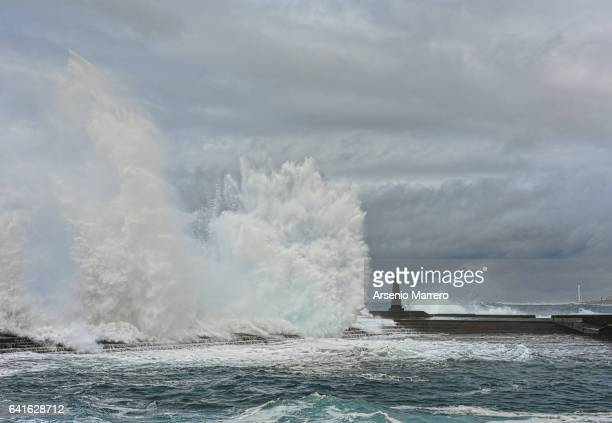 the storm on the sea - gale stock photos and pictures