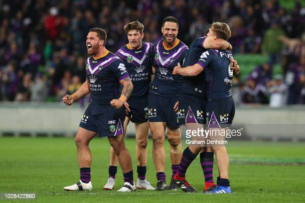 The Storm players celebrate victory in the NRL Qualifying Final match between the Melbourne Storm and the South Sydney Rabbitohs at AAMI Park on...