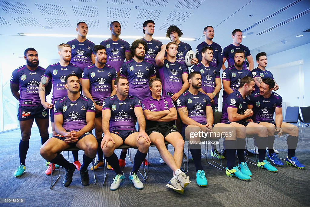 The Storm players wait to be photographed during a Melbourne Storm NRL media opportunity at AAMI Park on September 26, 2016 in Melbourne, Australia.