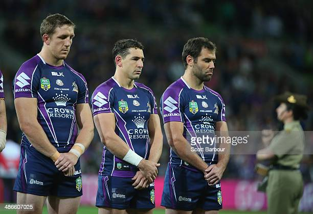 The Storm stand for a minutes silence before the round 8 NRL match between the Melbourne Storm and the New Zealand Warriors at AAMI Park on April 25...
