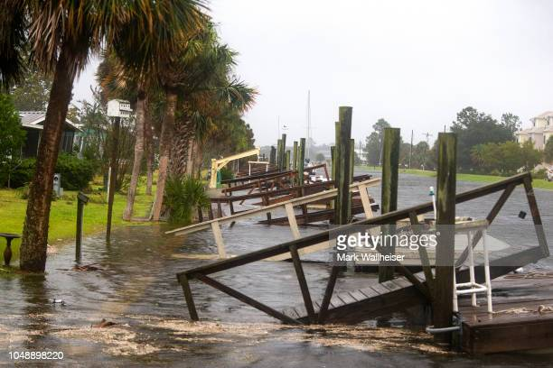 The storm surge from Hurricane Michael pushes into the homes four hours prior to high tide on October 10 2018 in the Florida Panhandle community of...