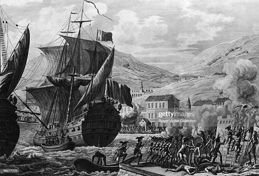 The storming of Cap-Francais, in Haiti, by the general Charles ...