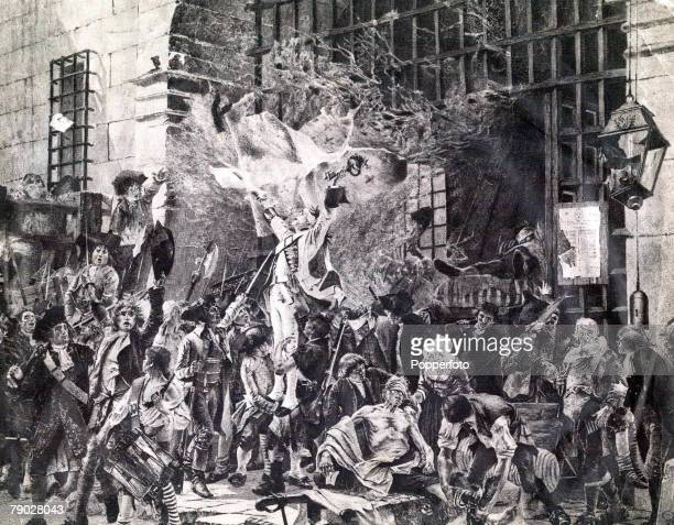 The storming of the Bastille France 14th July 1789 The keys to the Bastille are held aloft by Republican soldiers as the dungeon's prisoners are...