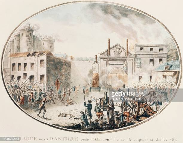 The storming of the Bastille in Paris July 14 engraving French Revolution France 18th century Versailles Château De Versailles