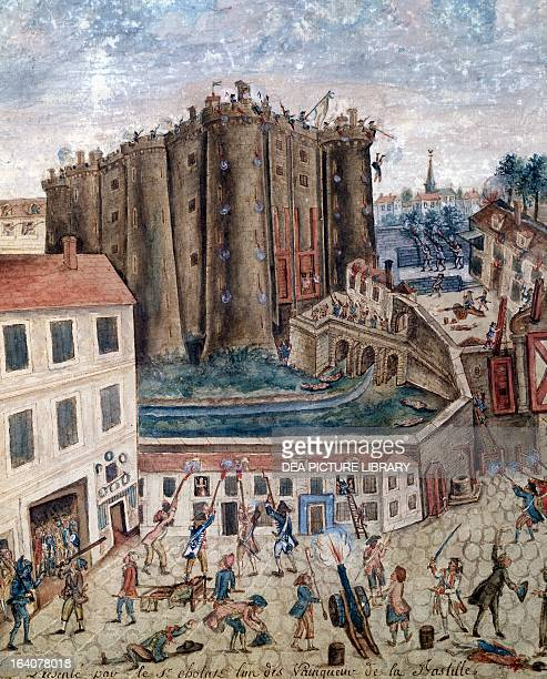 The storming of the Bastille July 14 gouache by Claude Cholat detail French Revolution France 18th century Paris Hôtel Carnavalet