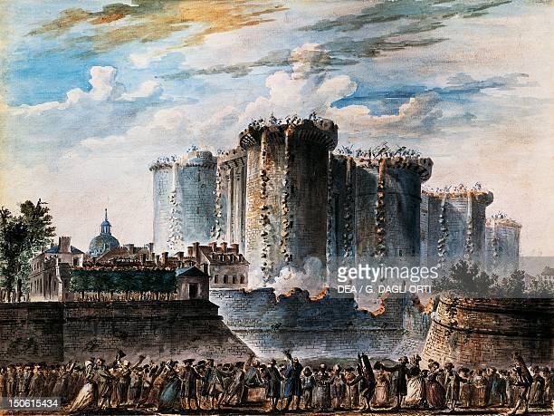 The storming of the Bastille July 14 gouache by JeanPierre Houal French Revolution France 18th century