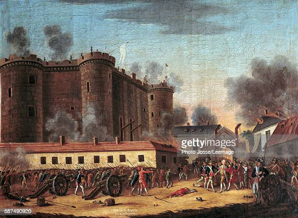 The storming of the Bastille on 14 July 1789 and the arrest of M de Launay Marquis Bernard Rene Jordan de Launay Governor of the Bastille Anonymous...