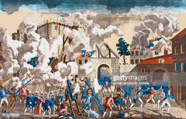 The Storming of the Bastille Paris France 14 July 1789 portrayed here as being stormed by the military After a contemporary work