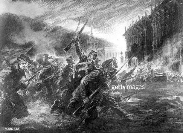 The storming of the winter palace in petrograd in october 1917' a drawing by v shcheglov