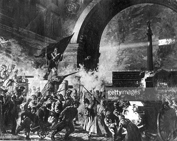 The storming of the winter palace in st petersburg during the great october revolution 1917