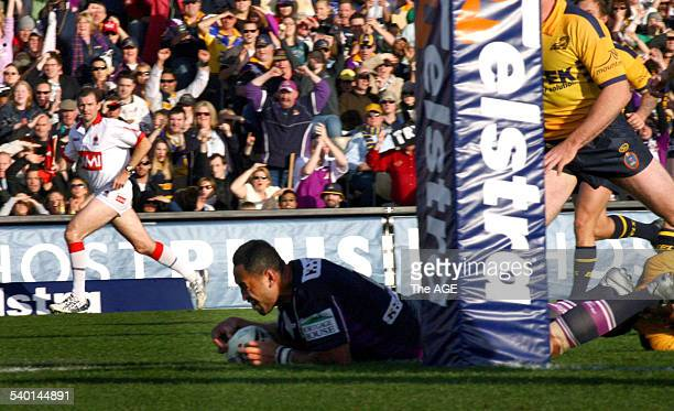 The Storm's Antonio Kaufusi scores a try during the NRL preliminary final between the Melbourne Storm and the Parramatta Eels at Olympic Park 10...