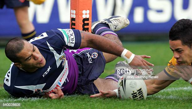 The Storm's Jake Webster scores a try during the NRL Round 14 rugby league match between the Melbourne Storm and Parramatta Eels at Parramatta...
