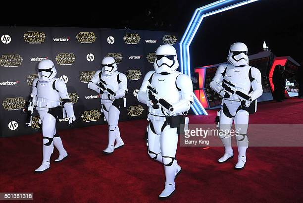 The Stormtroopers arrive at the Premiere of Walt Disney Pictures and Lucasfilm's 'Star Wars The Force Awakens' on December 14 2015 in Hollywood...