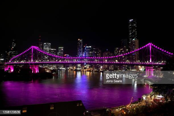The Story Bridge is seen lit up in pink in memory of Hannah Clarke and her children in February 23 2020 in Brisbane Australia Hannah Clarke and her...