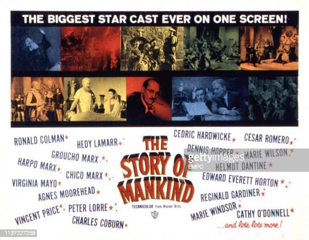 The Story Of Mankind poster Ronald Colman Hedy Lamarr Groucho Marx Harpo Marx Chico Marx Agnes Moorehead Vincent Price Peter Lorre Charles Coburn...