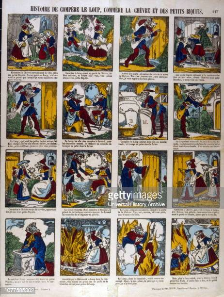 The story of the Wolf and the goat a series of 'Epinal images created by Imagerie Pellerin France 1860 JeanCharles Pellerin French draftsman...