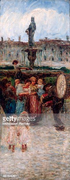 The Storyteller by Angelo Dall'Oca Bianca 20th Century oil on canvas Private collection Whole artwork view Genre scene depicting the arrival of a...