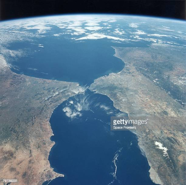 The Strait of Gibraltar as seen from the space shuttle Endeavour during NASA's STS77 mission May 1996 Spain is on the right and Morocco on the left...