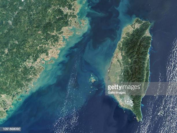 The Strait of Taiwan, located between the coast of southeast China and Taiwan.