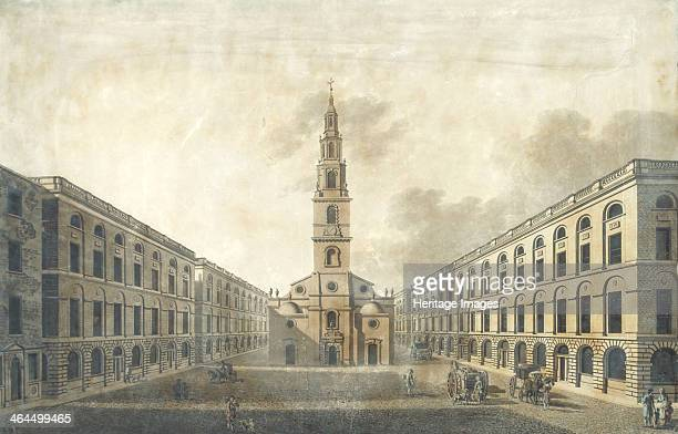 The Strand, City of Westminster, London, 1793. View of Alderman Pickett's proposed plan for impovements to the Strand, showing the west front of St...
