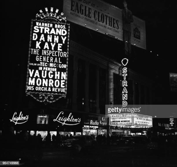 The Strand Theater Marquee reads 'Warner Bros Strand B'Way's Finest Screen And Stage Shows Danny Kaye 'The Inspector General' on Stage Vaughn Monroe...
