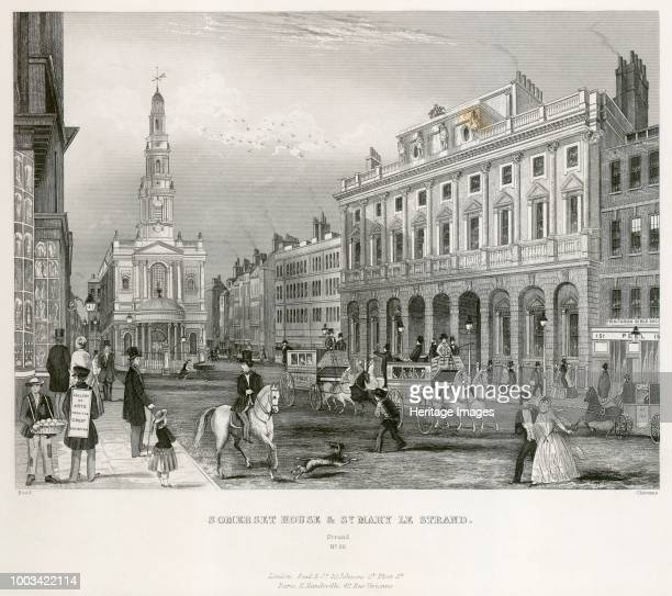 The Strand, Westminster, London, mid 19th century. View showing Somerset House and the Church of St Mary le Strand. From the Mayson Beeton...