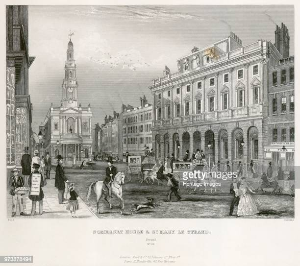 The Strand Westminster London mid 19th century View showing Somerset House and the Church of St Mary le Strand From the Mayson Beeton Collection...