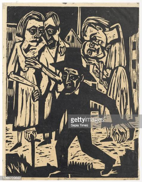 The Stranger , 1924/25, woodcut on paper, self-printing, folia: 57.3 x 44.1 cm |, Picture: 55.1 x 42.5 cm , U.l., marked in pencil, Autogenous...