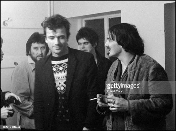 The Stranglers backstage at Malvern Winter Gardens, Malvern, United Kingdom, on 6 October 1977 Jet Black, Hugh Cornwell, Jean-Jacques Burnel and Dave...