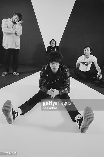 The Stranglers British New Wave band pose for a group studio portrait circa 1978