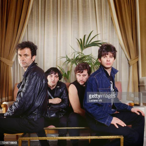 The Stranglers group portrait Fleming Hotel Rome 1985 LR Hugh Cornwell Dave Greenfield Jet Black JeanJacques Burnel