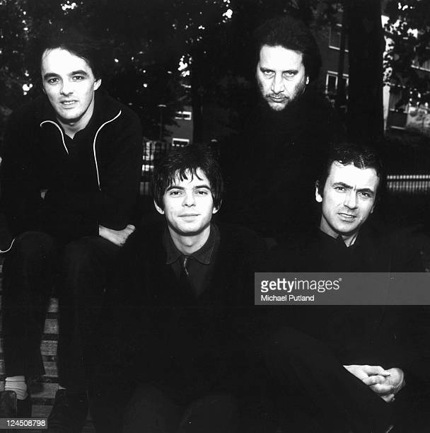 The Stranglers, group portrait, Primrose Hill, London, August 1980, Dave Greenfield, Jean-Jacques Burnel, Jet Black, Hugh Cornwell.