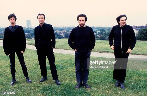 The Stranglers, group portrait, Primrose Hill, London, August 1980, Jean-Jacques Burnel, Hugh Cornwell, Jet Black, Dave Greenfield.