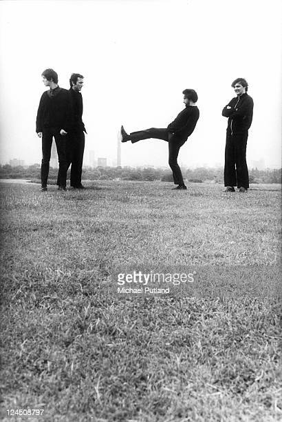 The Stranglers group portrait Primrose Hill London August 1980 JeanJacques Burnel Hugh Cornwell Jet Black Dave Greenfield